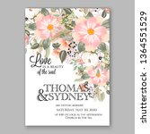 wedding invitation floral peony ... | Shutterstock .eps vector #1364551529