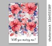 wedding invitation floral peony ... | Shutterstock .eps vector #1364551589