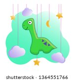 funny cartoon dinosaur with a... | Shutterstock .eps vector #1364551766