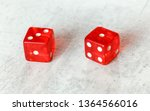two translucent red craps dices ...   Shutterstock . vector #1364566016