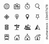 Map Icons and Location Icons with White Background - stock vector