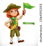 little scout with green flag.... | Shutterstock .eps vector #1364592353