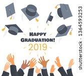 graduates throwing graduation... | Shutterstock .eps vector #1364593253