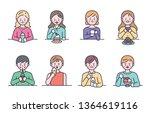 people who eat sweet desserts... | Shutterstock .eps vector #1364619116