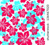seamless pattern with hibiscus... | Shutterstock .eps vector #136467020