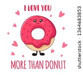 cartoon kawaii pink donut on... | Shutterstock .eps vector #1364683853