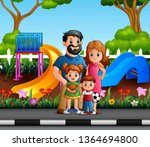 funny cartoon family in the... | Shutterstock .eps vector #1364694800