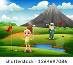 kids are playing golf in the... | Shutterstock .eps vector #1364697086