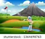 a boy playing golf in the... | Shutterstock . vector #1364698763