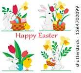 set of images of easter rabbits ... | Shutterstock .eps vector #1364702099