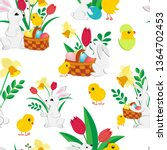 easter seamless pattern with... | Shutterstock .eps vector #1364702453