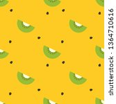 kiwi fruit seamless pattern ... | Shutterstock .eps vector #1364710616