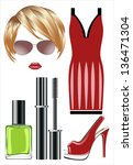 fashion set from a female ... | Shutterstock .eps vector #136471304