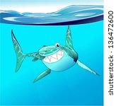 funny shark in the ocean | Shutterstock .eps vector #136472600