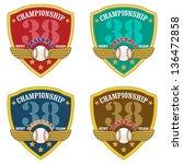 baseball shield emblem   vector ... | Shutterstock .eps vector #136472858