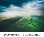 Aerial View Of Fields With An...