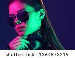 beautiful woman in sunglasses... | Shutterstock . vector #1364873219