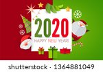 happy new 2020 year  cute paper ... | Shutterstock .eps vector #1364881049
