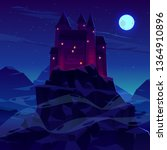 mysterious medieval castle with ... | Shutterstock .eps vector #1364910896