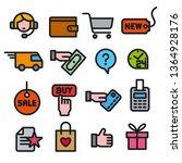 illustration of set e commerce... | Shutterstock .eps vector #1364928176