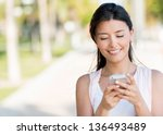 portrait of a woman sending... | Shutterstock . vector #136493489