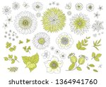 big set flowers  leaves and...   Shutterstock .eps vector #1364941760
