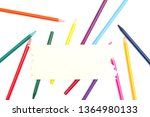 colored watercolor pencils with ... | Shutterstock . vector #1364980133