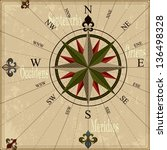 vintage compass rose nautical... | Shutterstock .eps vector #136498328