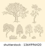 trees. design set. hand drawn... | Shutterstock .eps vector #1364996420