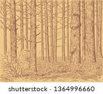 forest landscape. hand drawn... | Shutterstock .eps vector #1364996660