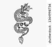 skull snake evil vector...   Shutterstock .eps vector #1364998736