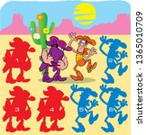 In vector illustration puzzle with cartoon cowboys, where you need to find the right silhouette