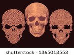 patterned skulls. design set.... | Shutterstock .eps vector #1365013553