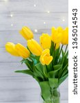 bouquet of yellow tulips and... | Shutterstock . vector #1365014543
