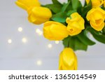 bouquet of yellow tulips and... | Shutterstock . vector #1365014549