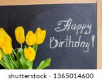 a bouquet of yellow tulips and... | Shutterstock . vector #1365014600