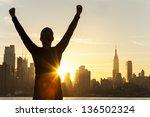 silhouette of a successful... | Shutterstock . vector #136502324