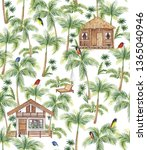 watercolor pattern  bungalow in ... | Shutterstock . vector #1365040946