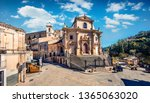 Sunny spring cityscape of Ragusa town with Church Holy Souls in Purgatory. Captivating morning scene of Sicily, Italy, Europe. Traveling concept background.