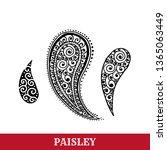 paisley motif hand drawn... | Shutterstock .eps vector #1365063449