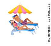 young couple in swimwear...   Shutterstock .eps vector #1365081296