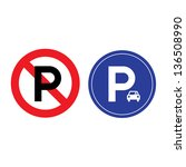 parking and no parking sign on... | Shutterstock .eps vector #136508990