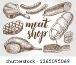 ink hand drawn set of meat... | Shutterstock .eps vector #1365095069
