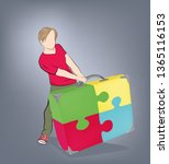 man pulls a suitcase. symbols... | Shutterstock .eps vector #1365116153