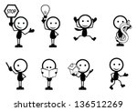 stick figure people with... | Shutterstock .eps vector #136512269