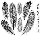 vintage tribal feathers | Shutterstock .eps vector #136513724