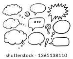 set of hand drawn cartoon... | Shutterstock .eps vector #1365138110