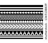 polynesian tattoo sleeve... | Shutterstock .eps vector #1365138839