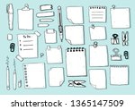 hand draw note empty paper...   Shutterstock .eps vector #1365147509