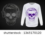 angry skull with hairstyle and... | Shutterstock .eps vector #1365170120